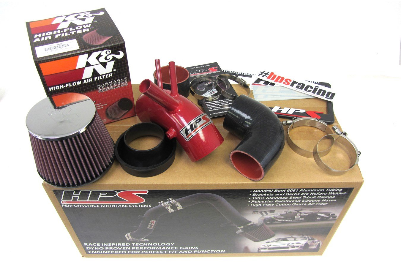 Non-CARB Compliant HPS 27-201R Red Short Ram Air Intake Kit