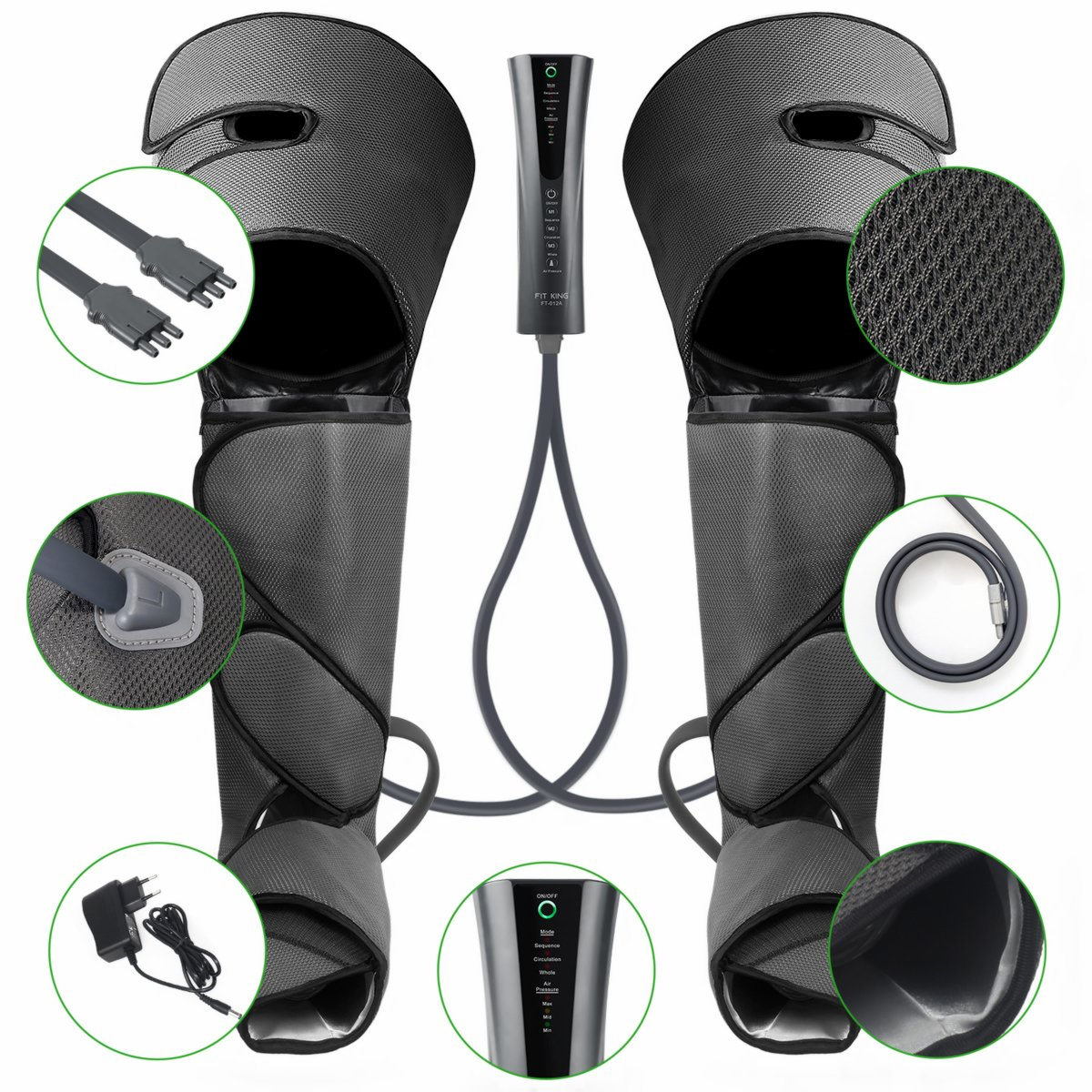 FIT KING Air Compression Leg Massager for Foot Calf and Thigh Circulation Massage and Slimming with Extensions and 3 Modes 3 Intensities by FIT KING (Image #7)