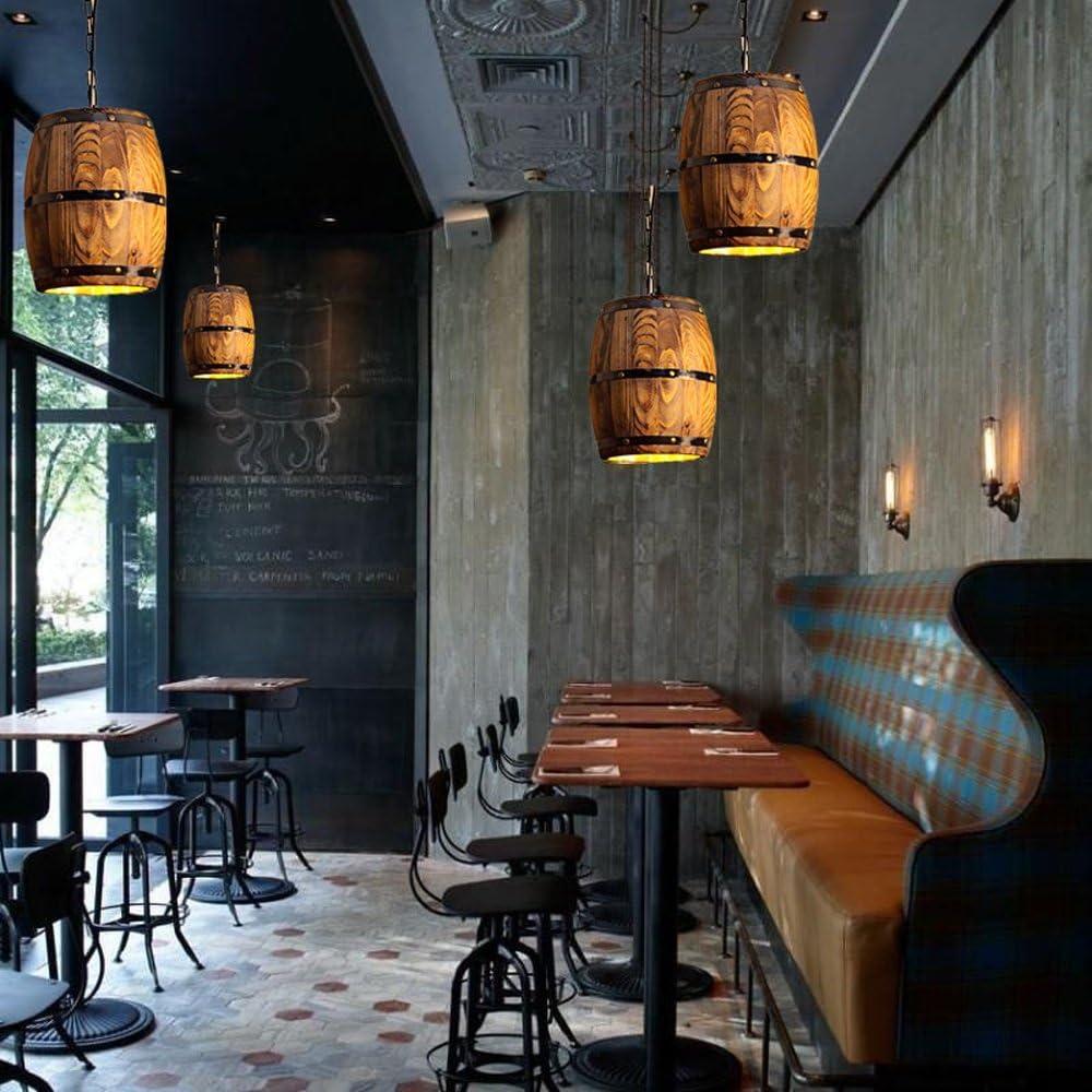 Ganeep Pays En Bois Tonneau Pendentif Lumi/ères Cuisine /Île Lampe Creative E27 Luminaire Art D/écoration Pour Bar Salon Caf/é