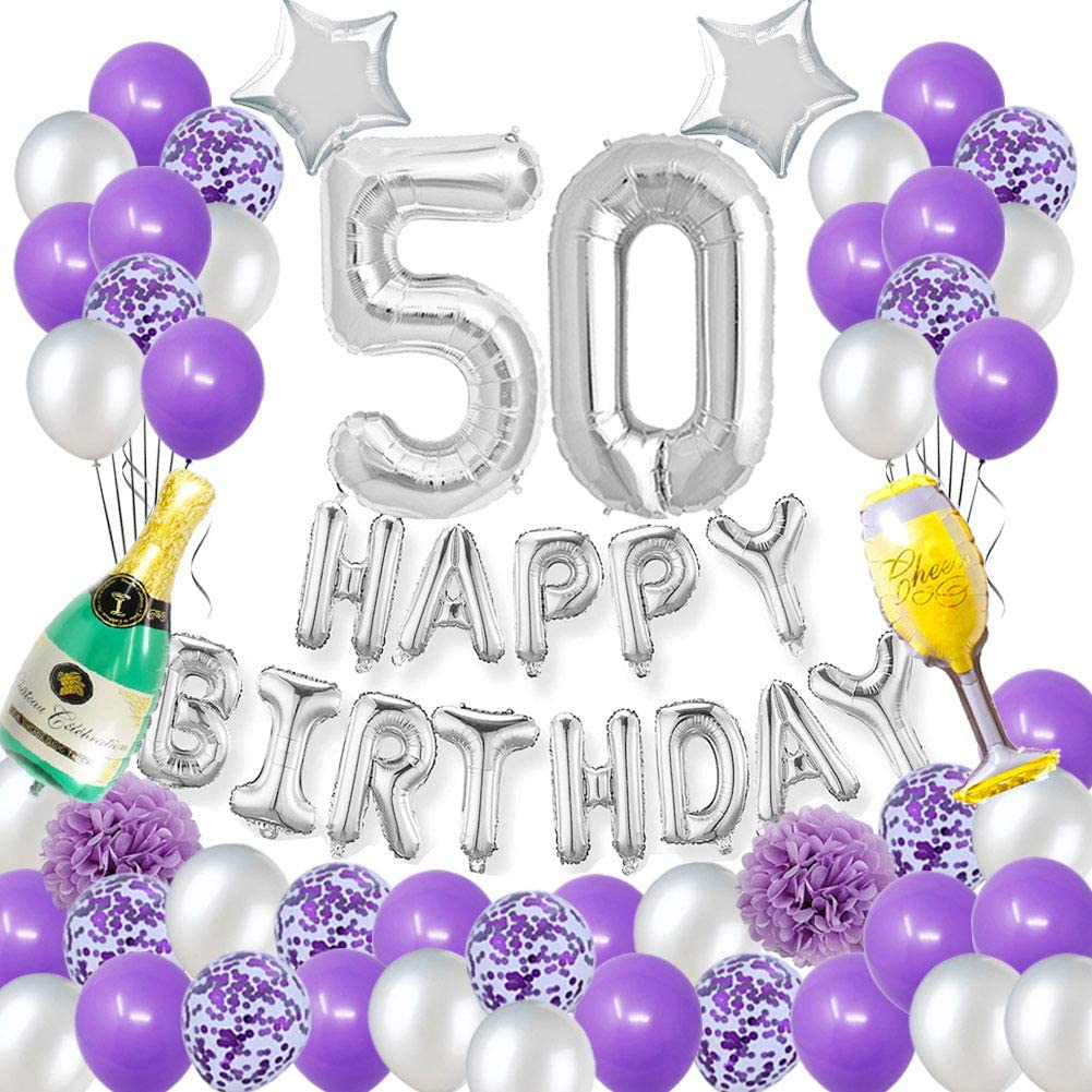 50 Pieces 50th Birthday Decoration Silver Glitter Silver Glitter 50 Confetti