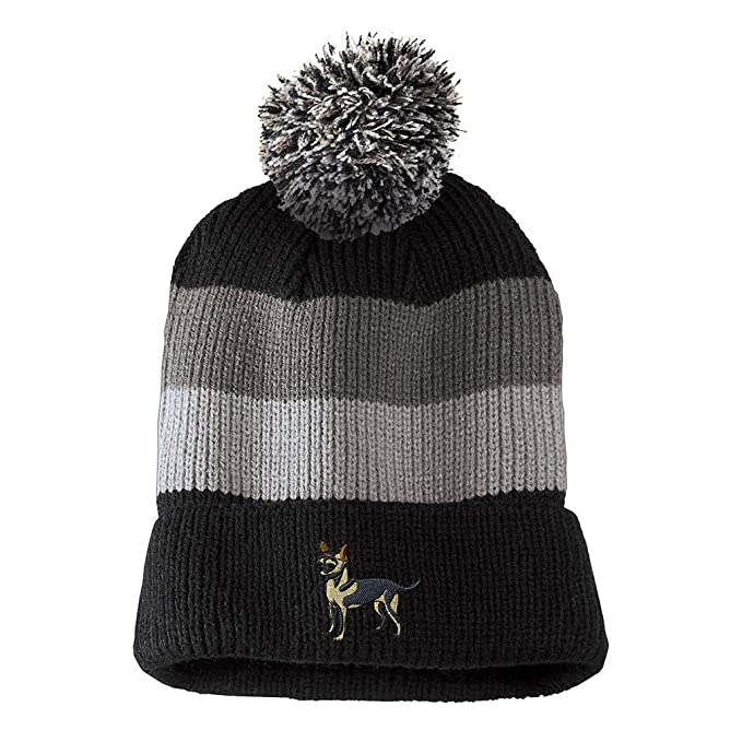 286b713657e Chihuahua Embroidered Unisex Adult Acrylic Vintage Striped Removable Pom  Pom Beanie Winter Hat - Black
