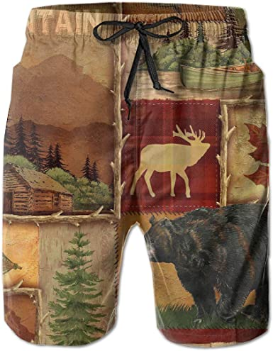 Camo Camouflage Animal Collage Mens Beach Shorts Swim Wear Casual Sport Board Shorts