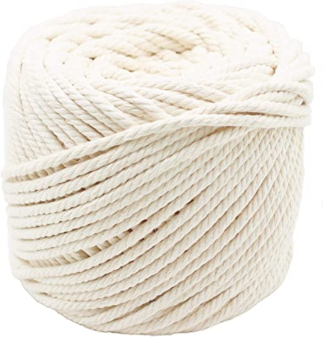 DIY Rope Craft Project 164ft Natural Cotton Rope Cord 1//4 inch Thick for Making Rope Wrapped Jars Rope Bucket Lamp Vase Coaster