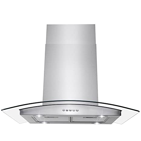 "AKDY Island Mount Range Hood –36"" Stainless-Steel Hood Fan for Kitchen –  3-Speed Professional Quiet Motor – Premium Push Control Panel – Minimalist  ..."