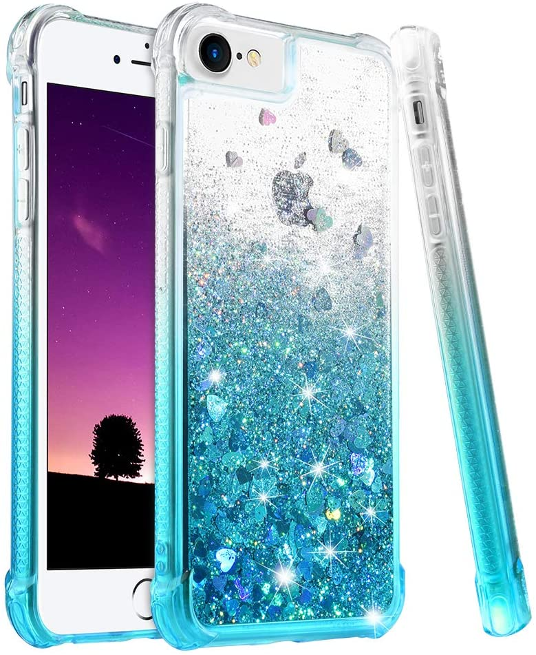 Ruky iPhone 8 Case, iPhone SE 2020 Case, iPhone 7 Case for Girls Women, Gradient Quicksand Series Bling Glitter Liquid Floating Soft TPU Protective Case for iPhone 6/6s/7/8/SE 2020, Gradient Teal