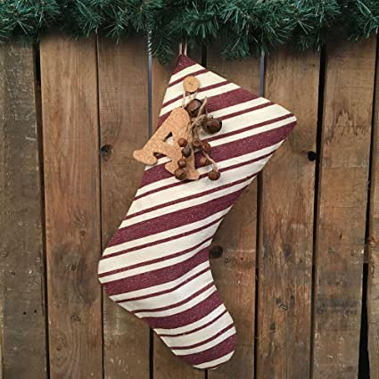 jubilee creative studio 18 dark red stripe rustic christmas stocking with personalized letter - Rustic Christmas Stocking