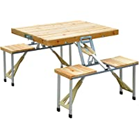 Deals on Outsunny Portable Foldable Camping Picnic Table w/Seats Chairs