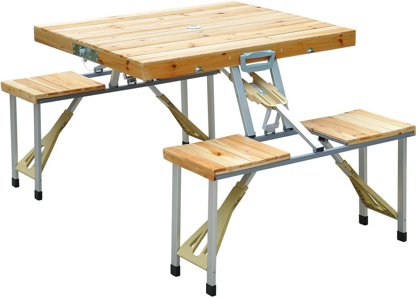Aluminum Portable Folding Camping Picnic Table with Chair Seat Bench Set Bench Design MAGSHION