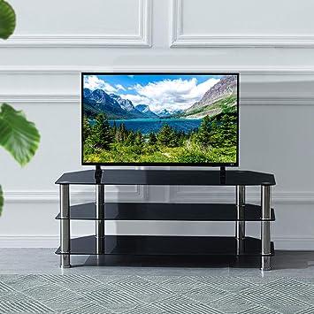 Mueble para TV de Cristal Negro de 100 cm y 114 cm con 3 estantes de Cristal para Plasma de 32 a 55 Pulgadas, LCD/LED/televisión 3D 114 * 50 * 45cm Negro: Amazon.es: Electrónica