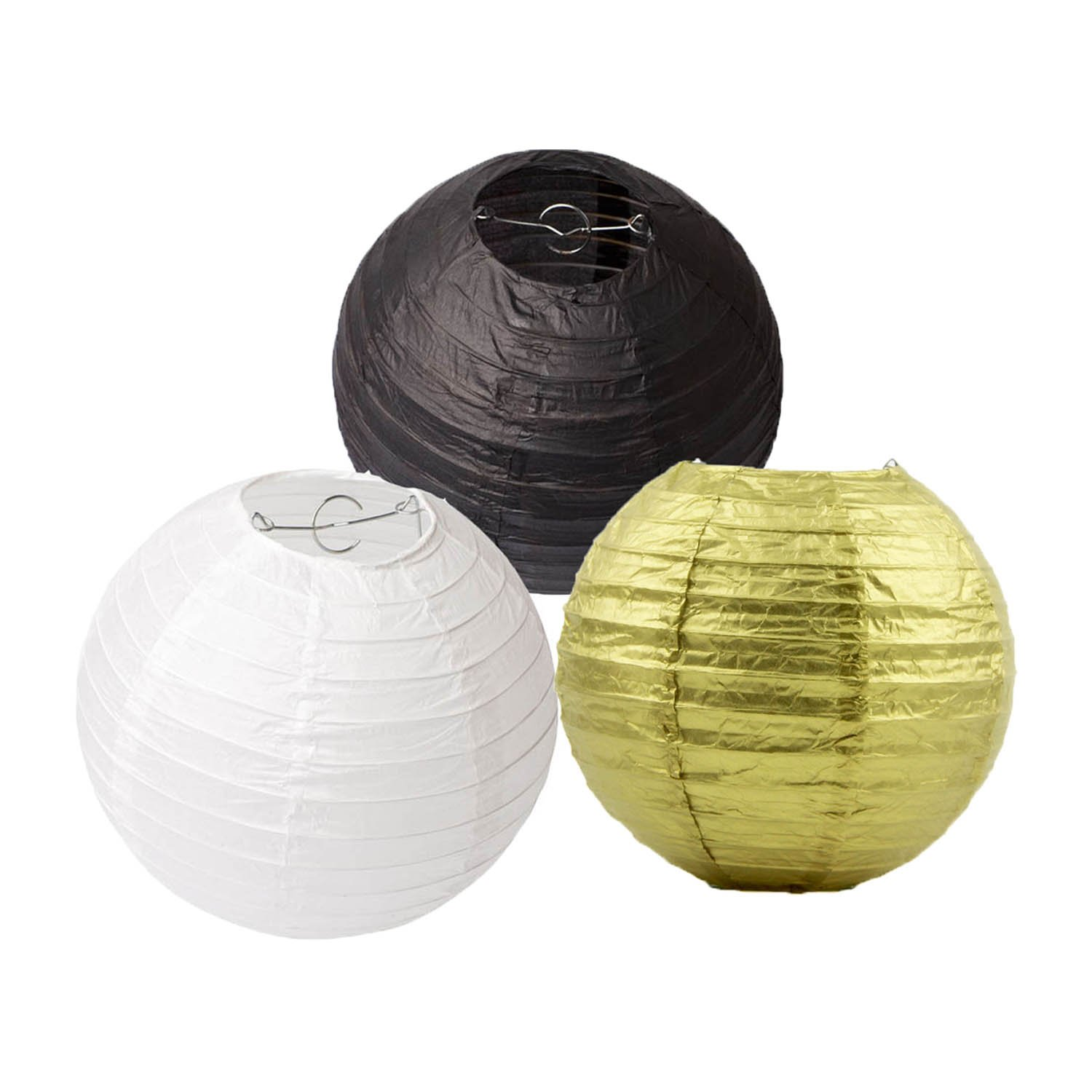 HEARTFEEL 8 inch Pack of 6 Chinese Paper Lanterns Lamp Shade Gold White Black Mixed Colors Wedding Party Decoration Baby Shower Birthday Decoration Round Paper Lantern