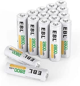 EBL 2800mAh AA Pilas Recargables Ni-MH para los Equipos Domésticos con Estuches de Almacenamiento (16 Piezas): Amazon.es: Electrónica