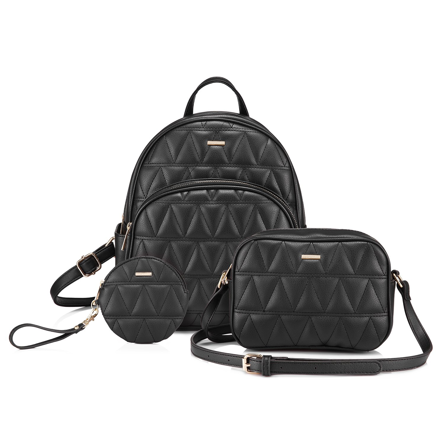 Backpack Purse Quilted Casual Backpacks Handbags for Women Shoulder Bag Coin bag 3 Pieces Set Black