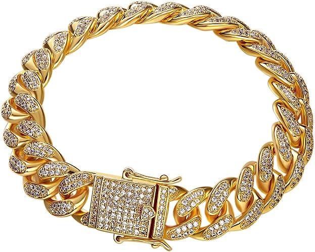 Cadena de cadena para hombre eslabón cubano de Miami Color Oro completamente Pulsera y collar conjunto