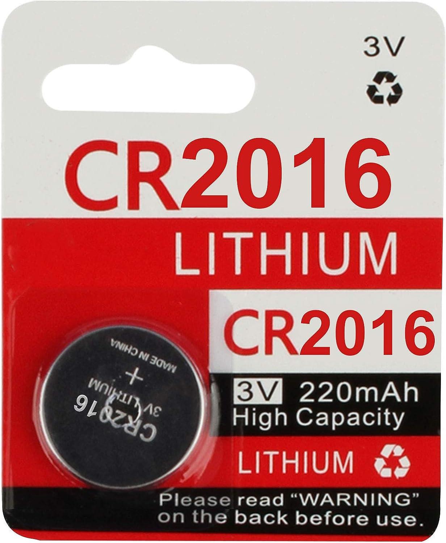 2 Count KeylessOption 2016 Battery Long Lasting 3v Lithium for Keyless Entry Remote Smart Key Fob Alarm Head Flip Keys CR2016