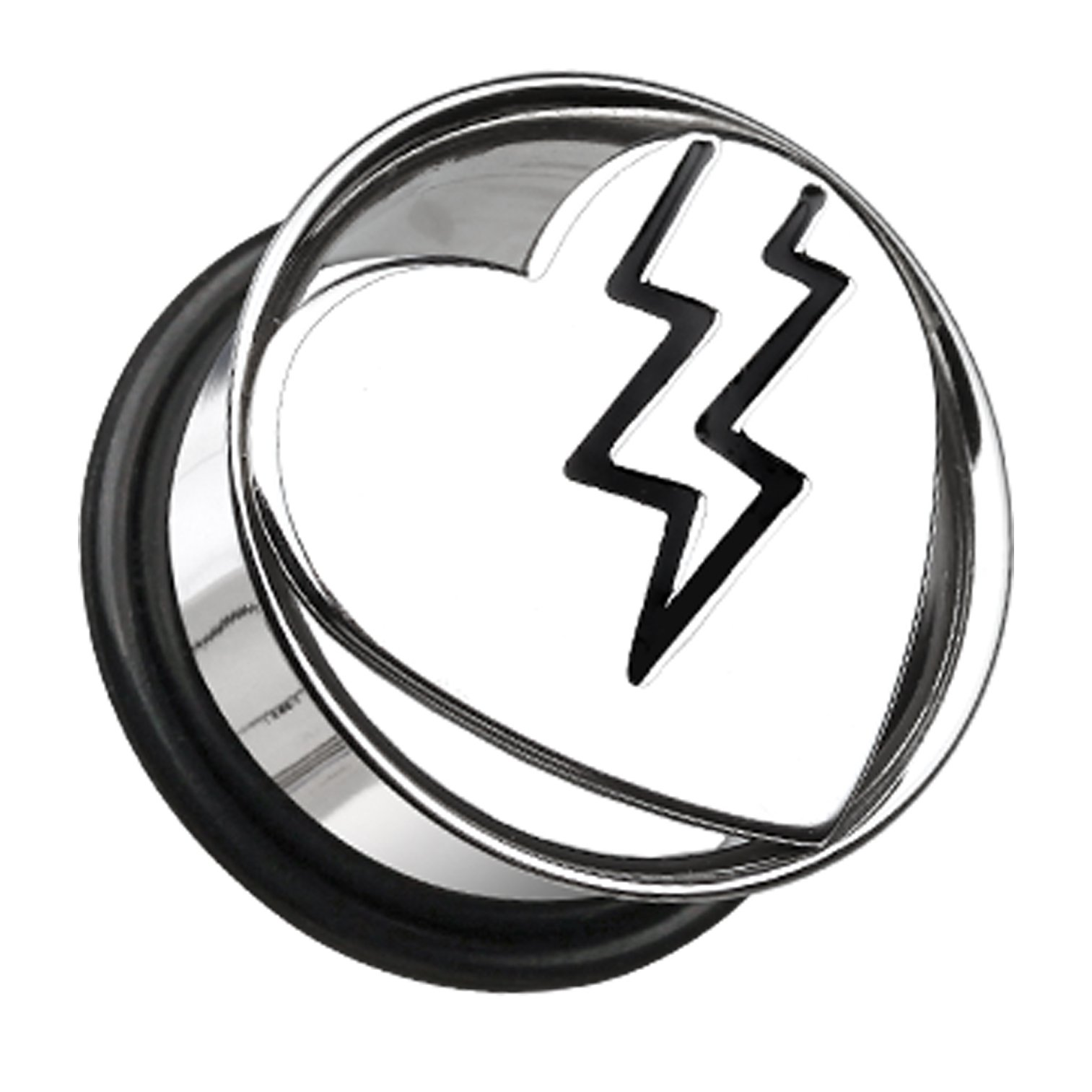 Lightning Bolt Heart Hollow 316L Surgical Steel Single Flared Ear Gauge Plug - 1'' (25mm) - Sold as a Pair