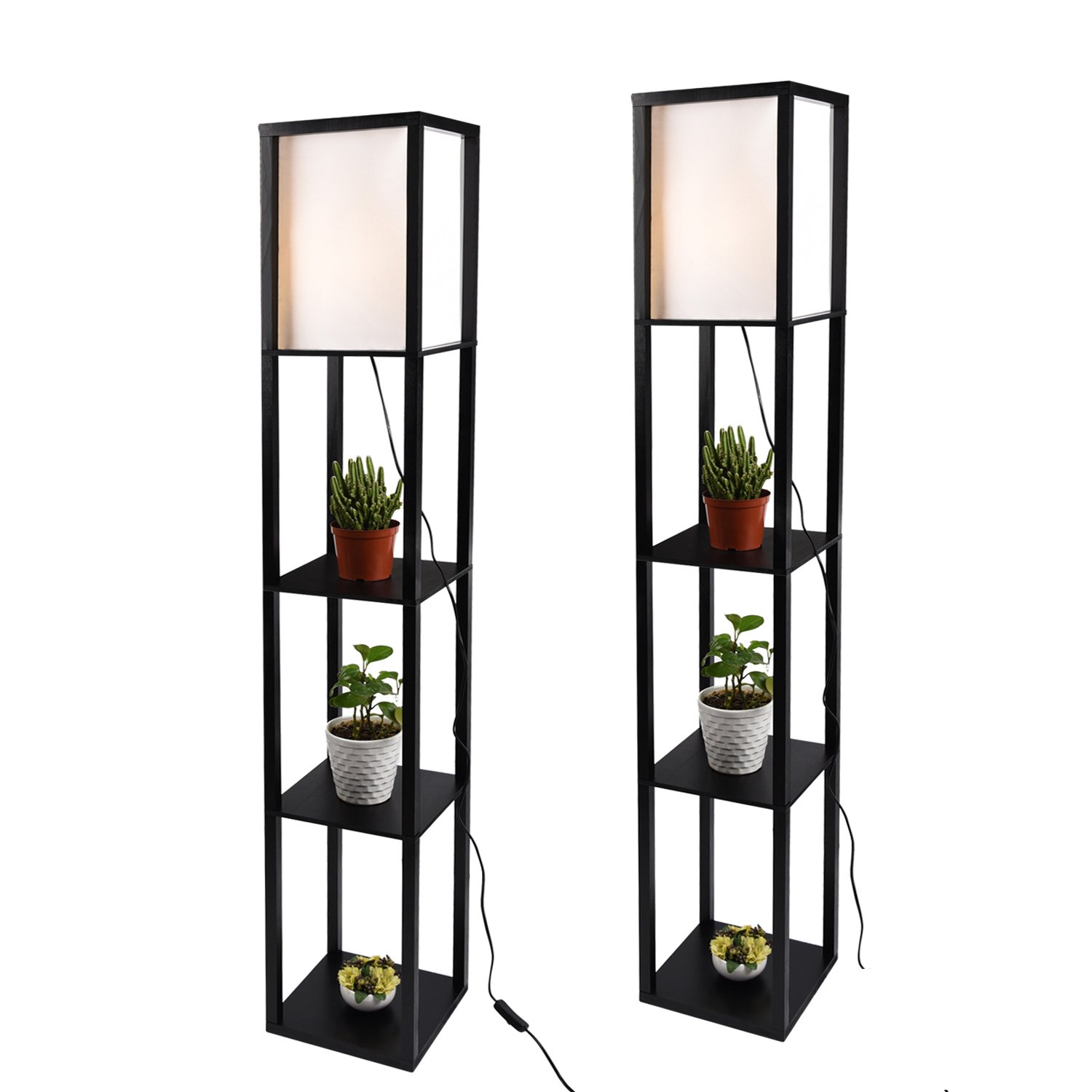 2X Simple Design Shelf Floor Lamp, White Shade, 63 Inch Height, with Open-Box Shelves, Black