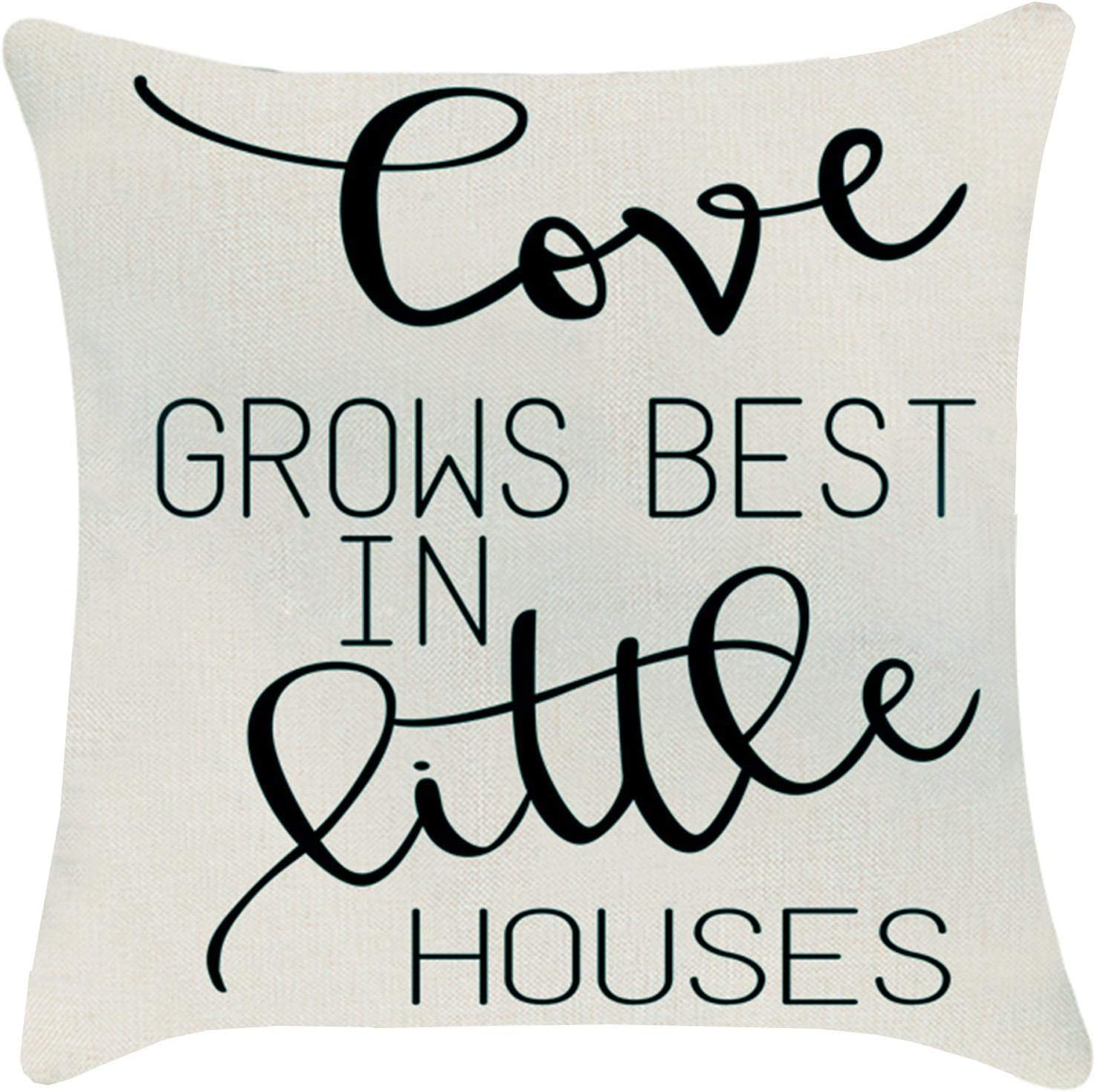 ZUEXT Love Grows Best in Little Houses Throw Pillow Cover 18x18 Inch Double Sided, Cotton Linen Indoor Outdoor Farmhouse Pillowcase for Sofa Home Decor Mother's Valentines Day Housewarming Gift