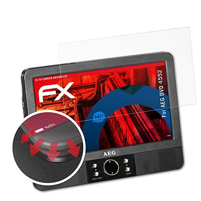 atFoliX Schutzfolie passend für AEG DVD 4552 Folie, entspiegelnde und Flexible FX Displayschutzfolie (3X)