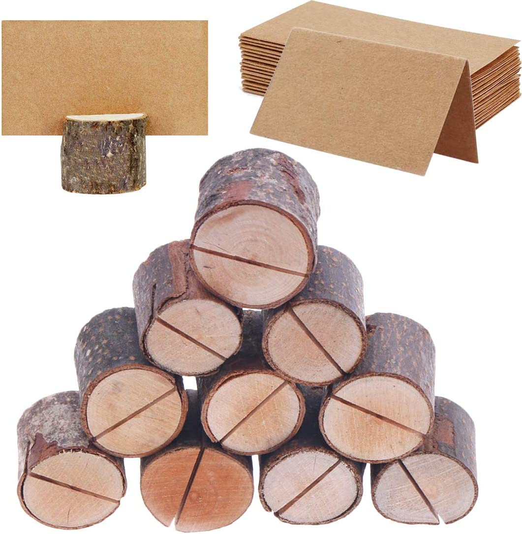 Buytra 20pcs Rustic Wood Place Card Holders Table Numbers Cards Holder Stand Wooden Bark Memo Holder Photo Picture Note Clip Holders with 30pcs Kraft Place Cards Bulk Wedding Party Table Number Sign
