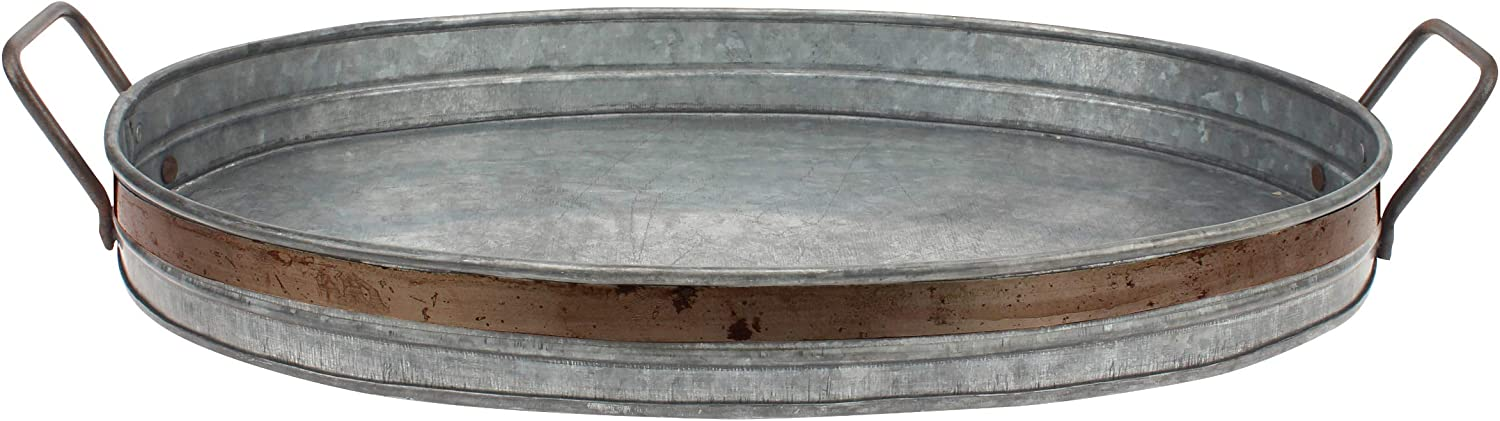 Stonebriar Galvanized Metal Serving Tray with Rust Trim and Metal Handles, Unique Butler Tray, Decorative Centerpiece for Coffee Table or Dining Table, Rustic Accessories for Weddings and Parties: Home & Kitchen