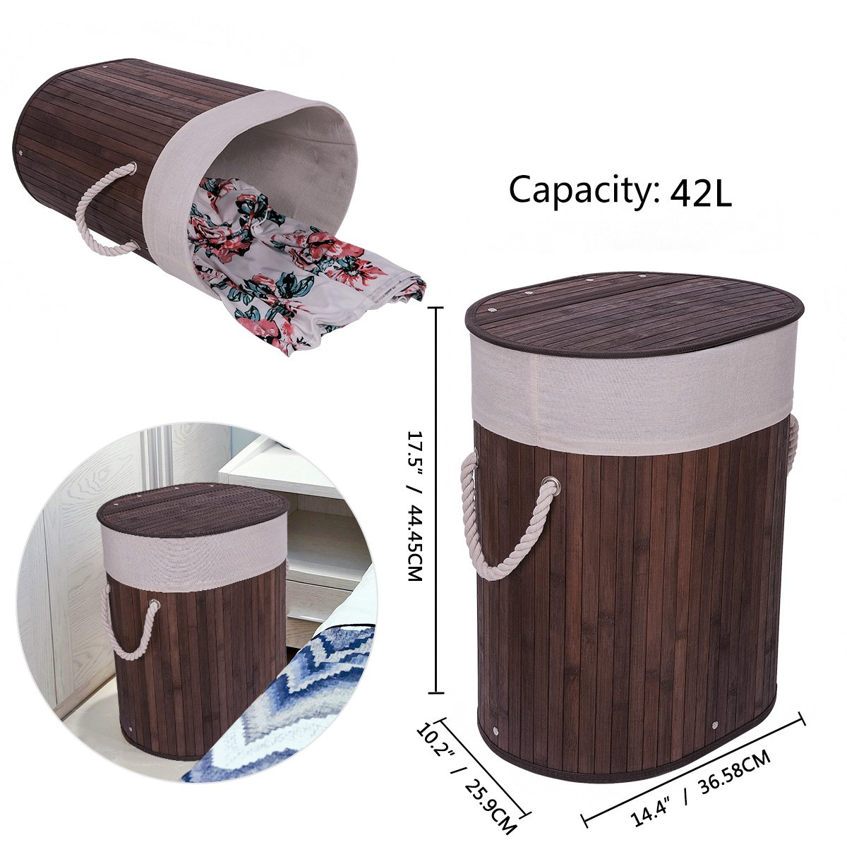 WOWLIVE Bamboo Laundry Basket Lid Handles Removable Liner Folding Dirty Clothes Organizer Foldable Easily Transport Washing Bin (42L,Dark Brown)