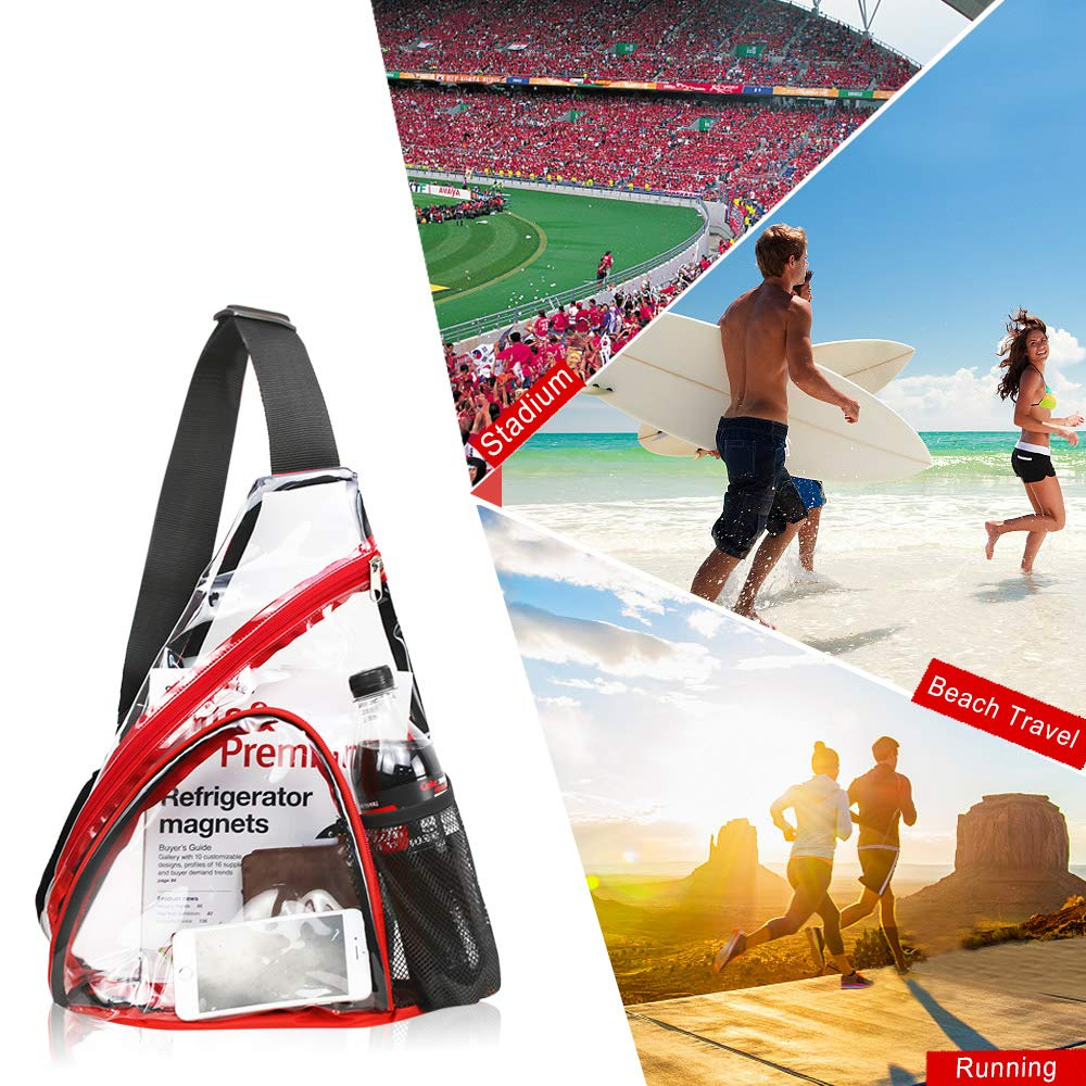 Clear PVC Sling Bag - Stadium Approved Transparent Shoulder Crossbody Backpack for Women & Men,Perfect for Work, Travel, Stadium and Concerts by Magicbags (Image #5)