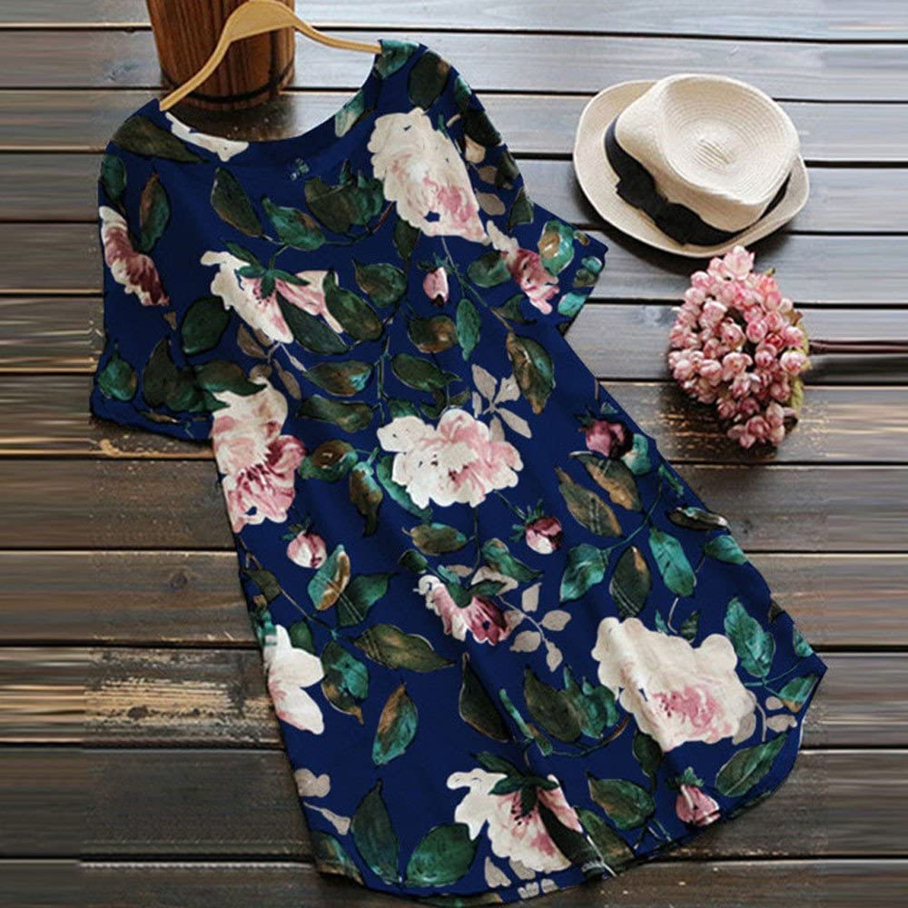 F/_Gotal Women Plus Size Floral Print Dress Tops Fashion Summer Short Sleeve Casual Tunic T-Shirts Blouse Tops for Ladies