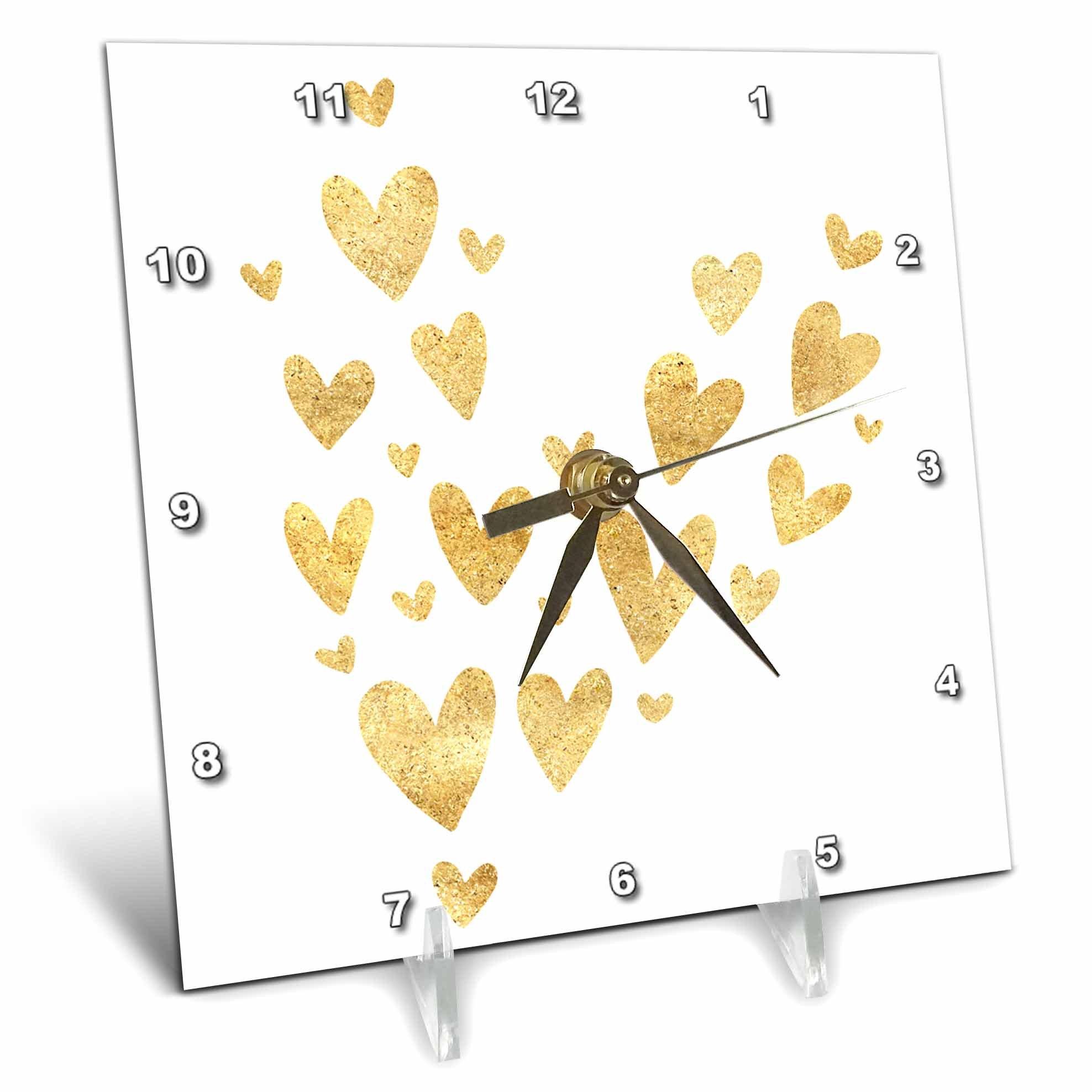 3dRose PS Inspiration - Pretty Gold Hearts - 6x6 Desk Clock (dc_280749_1)