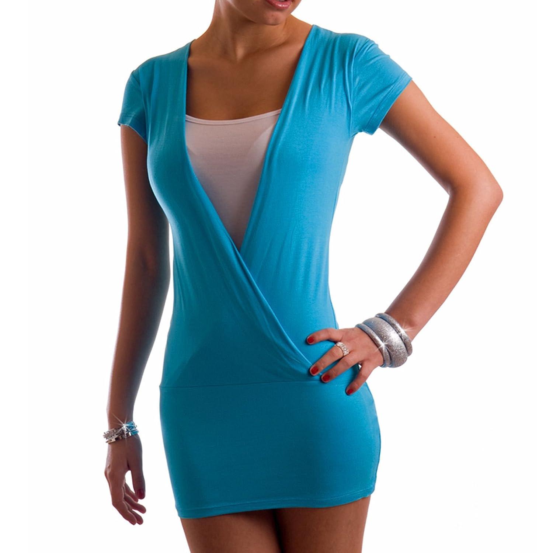 Damen Sommer Tunika Top Short Mini Kleid Two Tone Bluse Größen 34 36 38