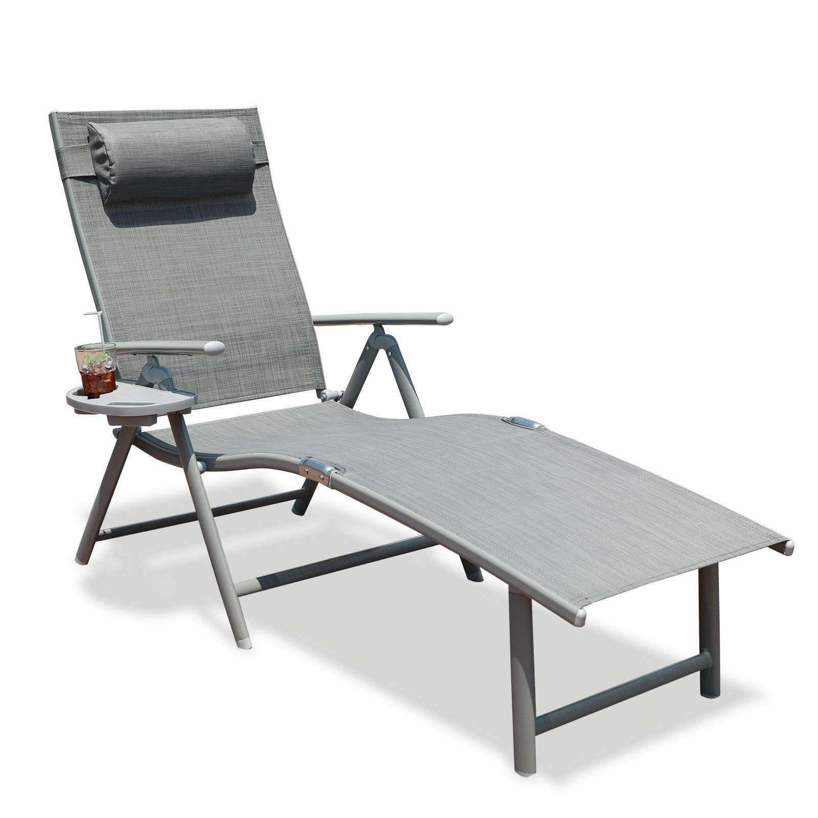 GOLDSUN Aluminum Outdoor Folding Reclining Adjustable Chaise Lounge Chair with Cup Holder for Outdoor Patio Beach Porch Swimming Pool (Single, Grey) by GOLDSUN