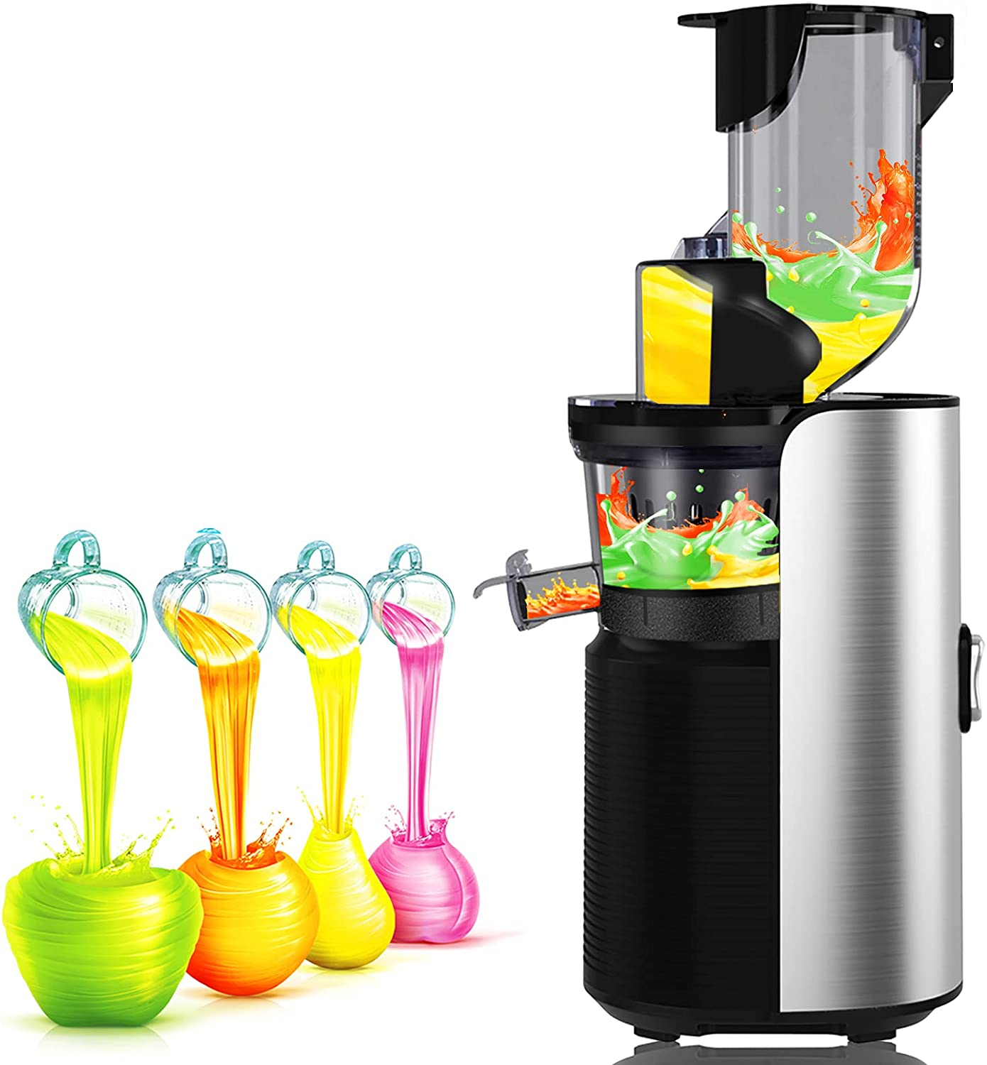 """Viesimple Juicer Machines Cold Press Juicers Masticating Juicer for Vegetable Fruit Juice Smoothies Easy to Clean Juicer Extractor, Quite Low db, Large WIDE 3.15"""" Turn Over Wide Chute Juicer Machine"""