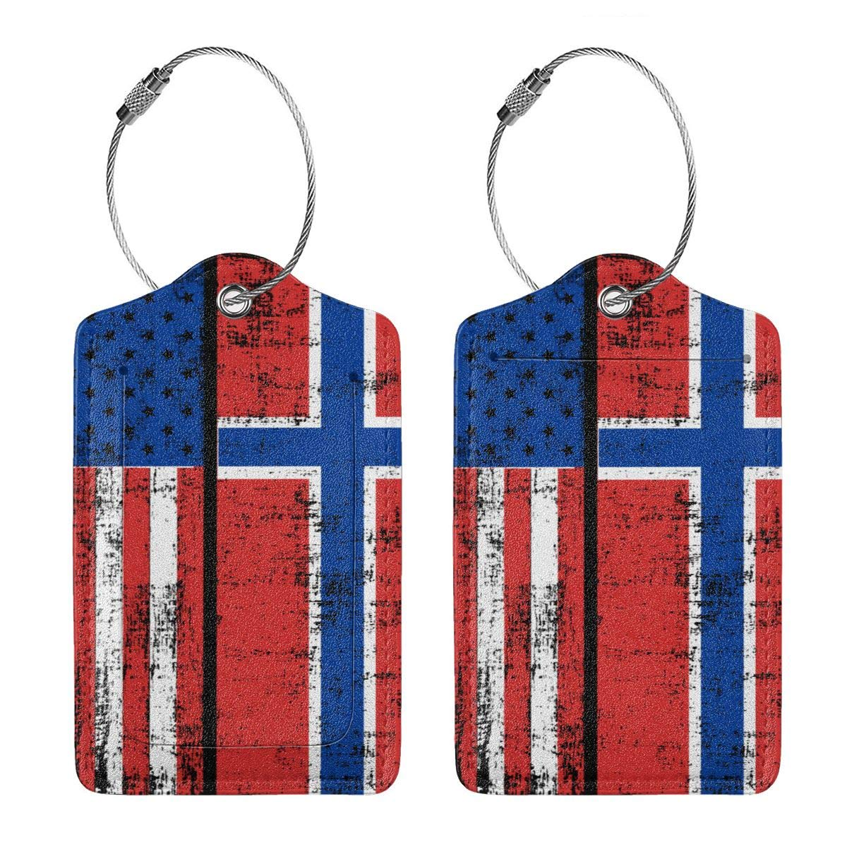 GoldK American Norwegian Flag Leather Luggage Tags Baggage Bag Instrument Tag Travel Labels Accessories with Privacy Cover