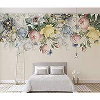 Duvarkapla Renkli Çiçekler 3 Boyutlu Duvar Kağıdı Pembe, Sarı ve Mavi Çiçek Duvar Resimleri İç Tasarım Bej Arka Plan için Yatak Odası 365x230cm