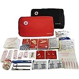 SUPER Kit di pronto soccorso con 120 articoli ( Termometro digitale, Pacchetto freddo instantaneo, Coperta di emergenza, Soluzione sterile di salina fisiologica, Gel idroalcolico ...) (ROSSO)
