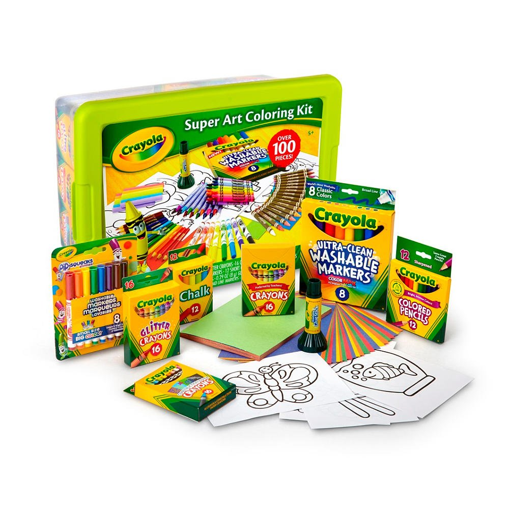 Amazon.com: Crayola Super Art Coloring Kit - Green or Yellow: Toys ...
