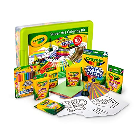 Amazon Com Crayola Super Art Coloring Kit Green Or Yellow Toys
