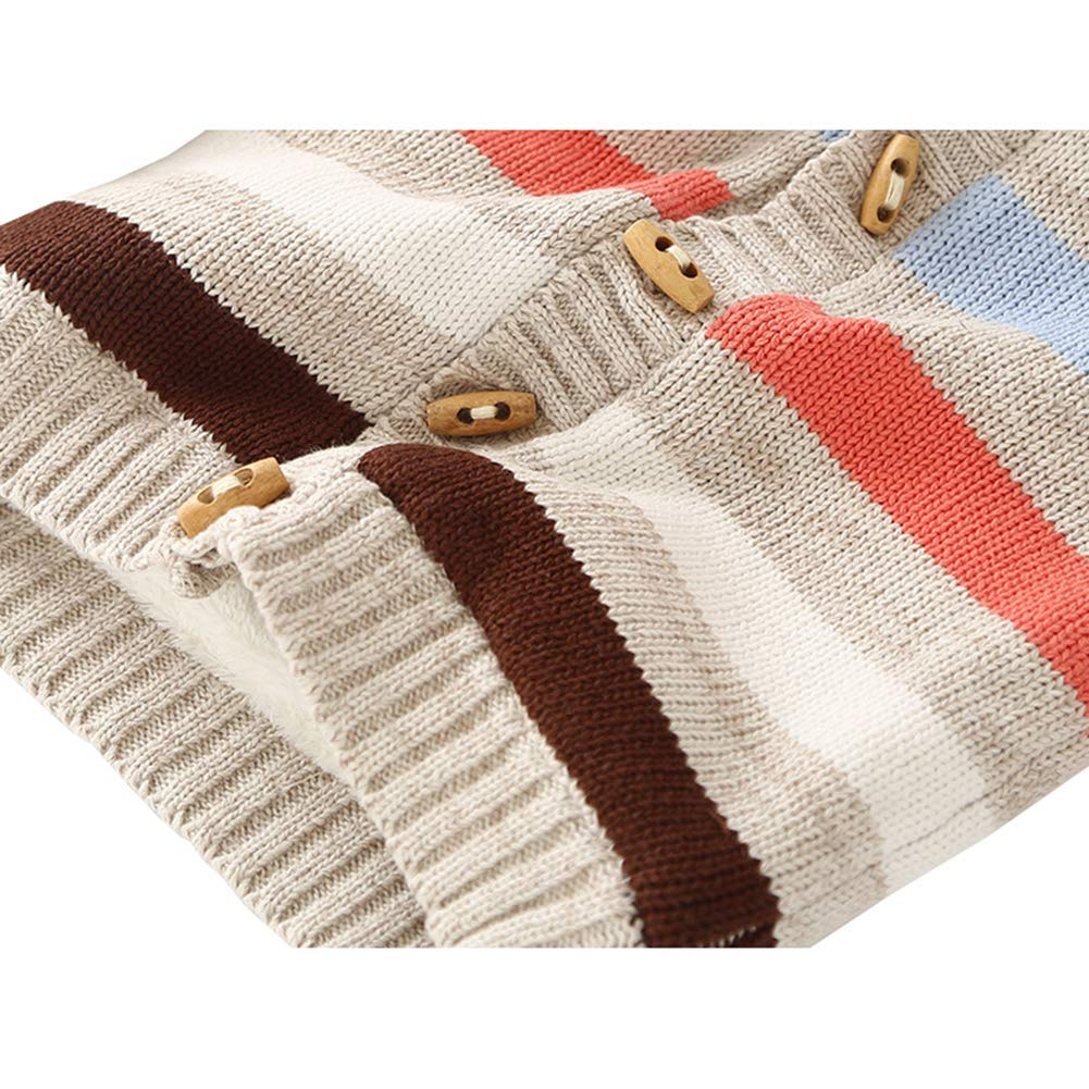 Digirlsor Toddler Baby Boys Girls Sweater Cardigan Winter Cotton Warm Outerwear Hooded Jacket Coat,1-4 Y