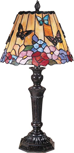 Dale Tiffany TT100587 Tiffany Mica Two Light Table Lamp from Courtney Collection in Bronze Dark Finish, 12.00 inches, Fieldstone
