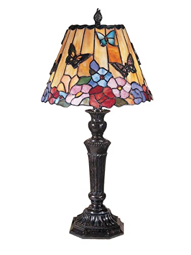 FixtureDisplays Tiffany Style Peacock Desktop Lamp 16-Inch Shade15720