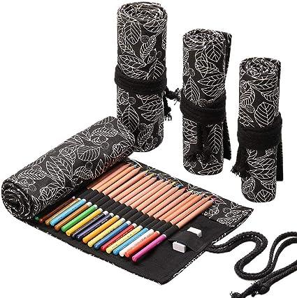 Estuche para lápices de gran capacidad, hecho a mano, de lona, con capacidad de 12,72 agujeros, gran capacidad, para dibujar o dibujar, hoja negra, 48 agujeros: Amazon.es: Oficina y papelería