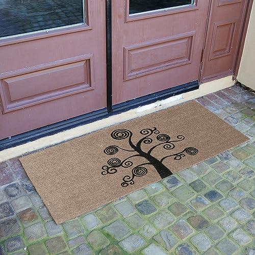 Rubber-Cal Deciduous Tree Modern Door Mat, 24 x 57, Brown 10-102-022