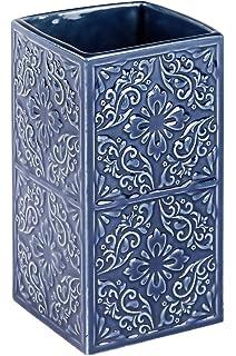 Wenko Cordoba Juego para El WC, Cerámica, Azul, 9.5x9.5x35 cm ...