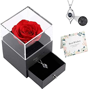 Qaxlry Preserved Real Roses Gift Box with Love You 100 Languages