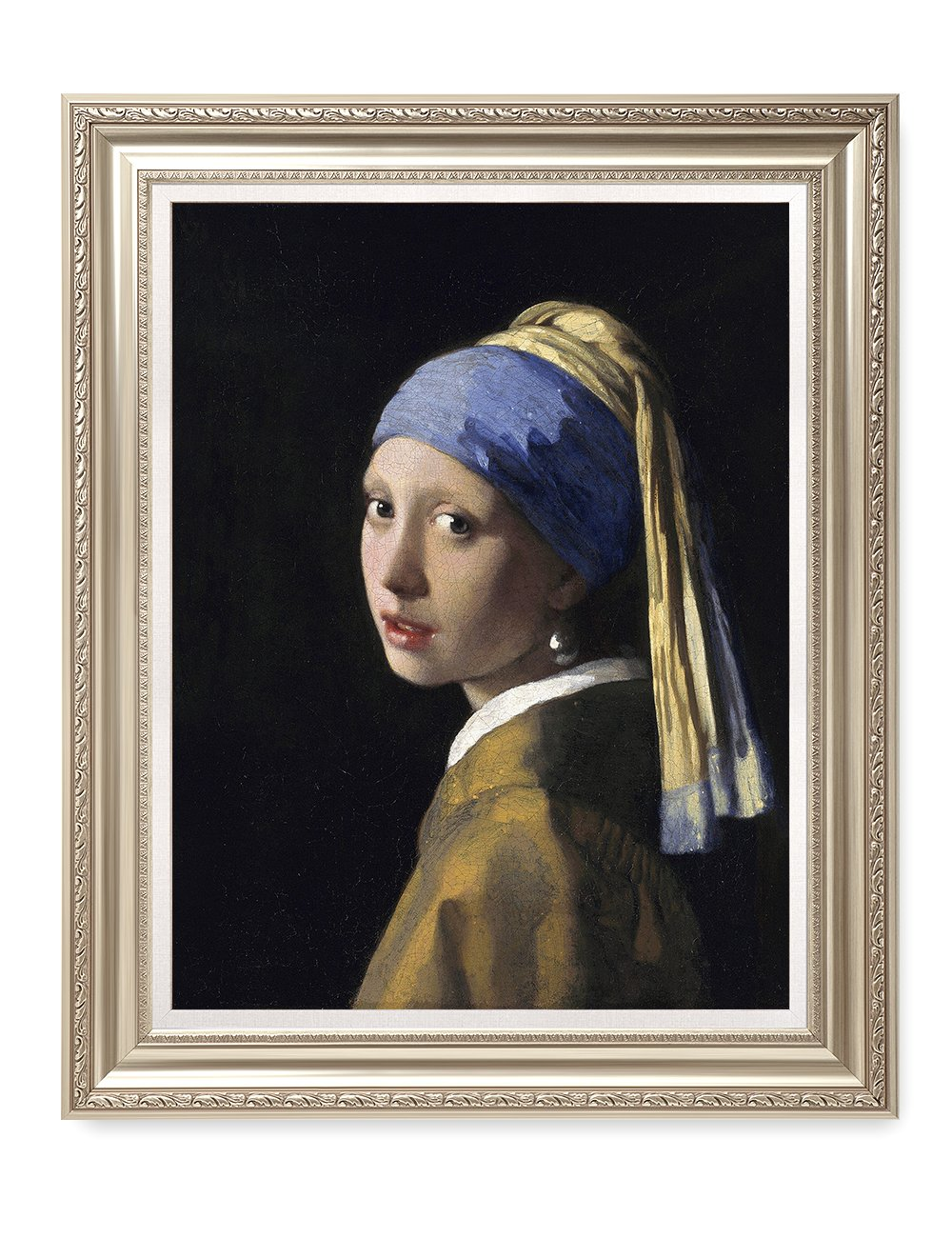 DecorArts - Girl With A Pearl Earring, Johannes Vermeer Classic Art. Giclee Prints Framed Art for Wall Decor. Framed size: 30x36''