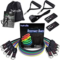 TheFitLife Exercise Resistance Bands with Handles - 5 Fitness Workout Bands, Training Tubes with Large Handles, Ankle…