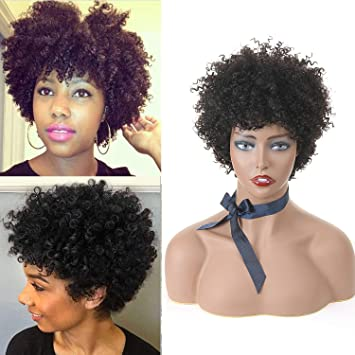 Short Curly Wigs For Black Women 125g Afro Curl Wigs For Women Unprocessed  Short Human Hair 030f47fe1d