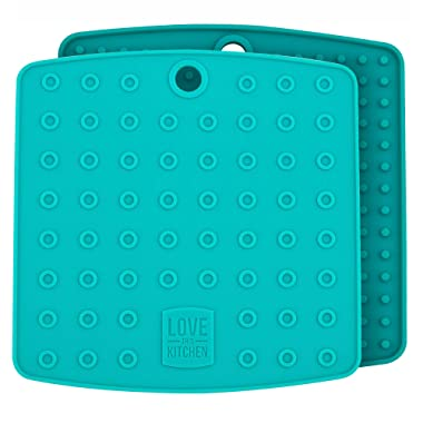 Premium Silicone Trivet Mats/Hot Pads, Pot Holders, Spoon Rest, Jar Opener & Coasters - Our 5 in 1 Kitchen Tool is Heat Resistant to 442 °F, Thick & Flexible (7  x 7 , Teal, Set of 2)
