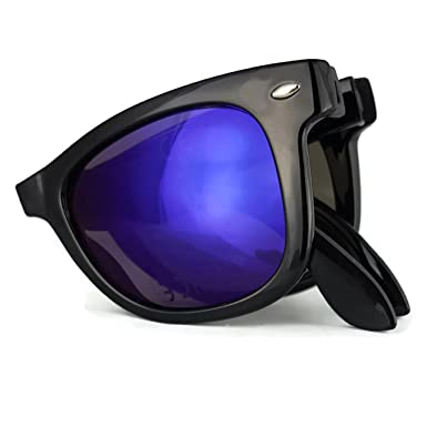06d311a184 Black Folding foldable Style Sunglasses Blue Reflective Outer Lens 100%  UV400 Protection Unisex (FW5848)  Amazon.co.uk  Clothing