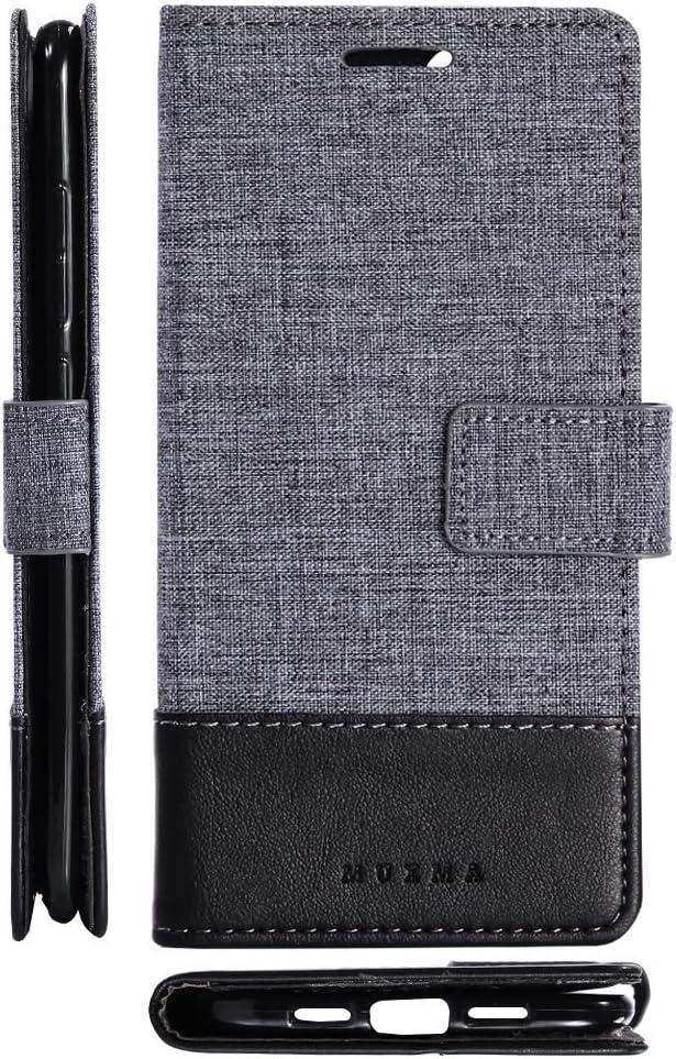 pinlu® Funda para Xiaomi Mi6 Case de Piel PU 2 Colores Mezclados Flip Wallet Carcasa con Ranura para Tarjetas Función Lino Estilo Negro