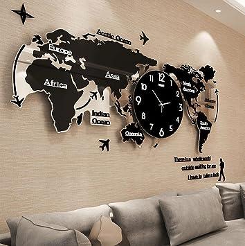 Amazon.de: YHJ Wanduhr Kreative Weltkarte Wanduhr Wohnzimmer ...
